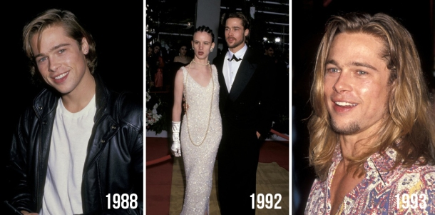 brad pitt evolution beauty looks style hair change years 1