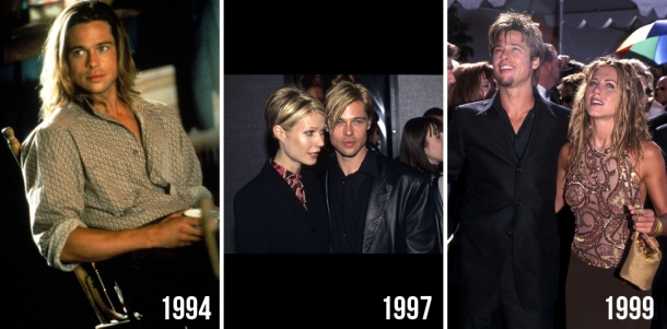 brad pitt evolution beauty looks style hair change years 2