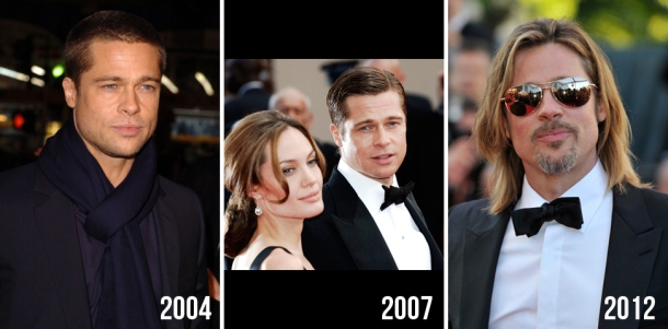 brad pitt evolution beauty looks style hair change years 3