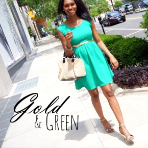 #Look of the Day: Green Dress and Goldaccessories